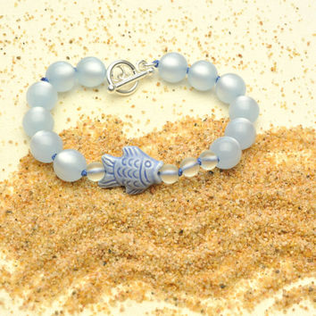 Lightweight Pale Blue Moonglow with Peruvian Fish and Bubbles Bracelet