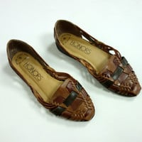 1980s Huaraches leather sandals,  brown weaved flats, closed toe slip on shoes, size 6, size 6.5