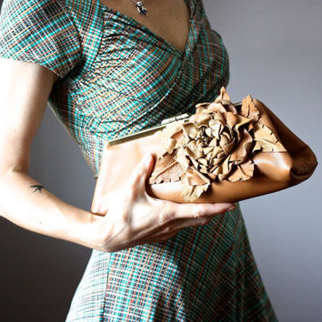 Leather clutch with floral embellishment ,  clutch purse, TAN leather purse, leather bag, leather handbag, Italian lambskin