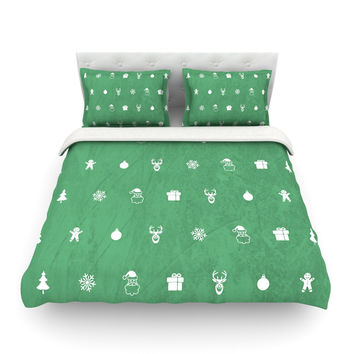 "Snap Studio ""Cheery Pattern Green"" Mint Featherweight Duvet Cover"