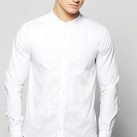 Grandad Collar Shirt With Curve Hem And Zip Detail | Boohoo