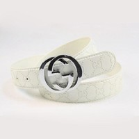 GUCCI Newest Fashion Men Woman Smooth Buckle Belt Leather Belt White I/A