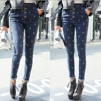 High Waist Jeans Woman Pencil Pants New  Vintage Cross Embroidery Skinny Denim Pants High Waist Slim Jeans Pants Trousers