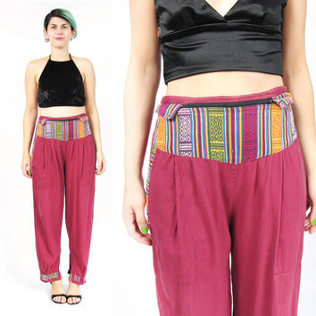 Vintage Harem Pants Slouchy Boho Festival Pants Elastic Waist Pants Baja Surfer Red Cotton Trousers Loose Hippie Boho Ethnic Yoga Pants (M)