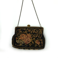 Antique Victorian petit point tapestry roses evening purse