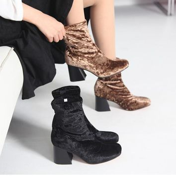 Socks Boots Women High Heel Boots Autumn Winter Knitted Flannel Ankle Boots Long Thigh High Boots Elastic Slim zapatos mujer