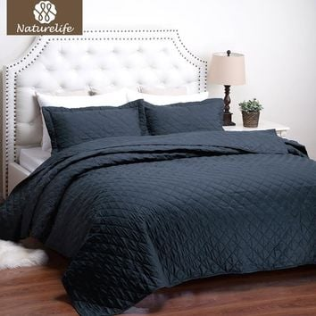 Naturelife Quilt Set Diamond Pattern Bedspread Bed Cover Quilted Bedding Set Duvet Cover Pillowcase Quilts Warm Coverlet Set