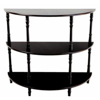 Half Moon Console Table with Three Shelves Entryway Furniture Espresso Finish
