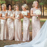 Champagne Gold Sequin Bridesmaid Dresses 2015 Hot Long Wedding Party Dress vestidos de festa vestido longo