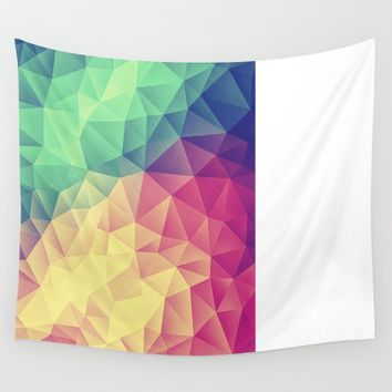Abstract Polygon Multi Color Cubizm Painting (low poly) Wall Tapestry by Badbugs_art