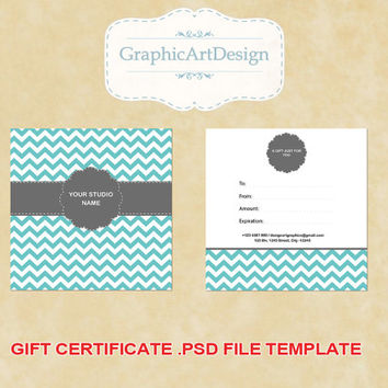 Photography Gift Certificate PSD Template - 5x5 Gift Certificate Card Template for Photographers - Chevron Fully Layered - INSTANT DOWNLOAD