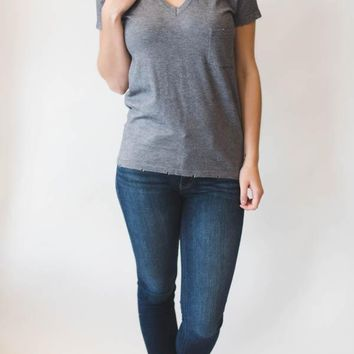 Distressed Top - Charcoal