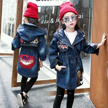 DreamShining Children Warm Denim Jacket Autumn Winter Thick Outwear Cotton Kids Hooded Coats Lips Sequin Jacket for Girl Clothes