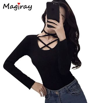 Magiray Long Sleeve Summer T Shirt Women U Neck Cross Lace Up Tie Bandage Slim Fit Female Sexy Club Top Ulzzang Tee 2018 C155