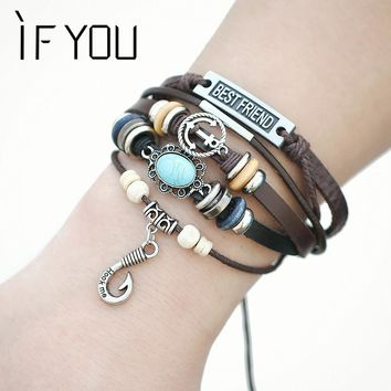 IF YOU Vintage Punk Best Friend Anchor Multilayer Leather Strand Bracelet Jewelry Stone Hook Wristband For Women Men Gifts