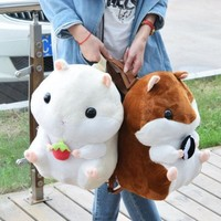 Women Girl Lolita Round Fat Plush Toy Cute Hamster Doll Backpack Bag Xmas Gift