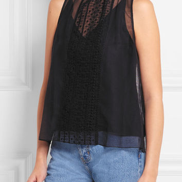 See by Chloé - Embroidered cotton-blend tulle top