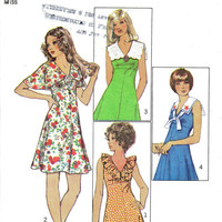 Boho Hippie Style Mini Dress Simplicity Retro 70s Sewing Pattern 9863 Sailor Ruffle Collar Butterfly Sleeves Empire Waist Bust 34