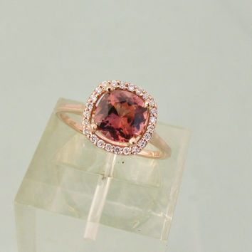 Square Cushion Apricot Tourmaline Diamond Halo Ring in 14k Rose Gold Engagement Ring Anniversary Ring Weddings