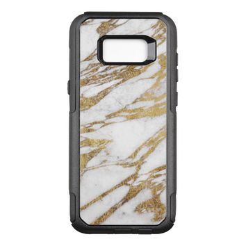 Chic Elegant White and Gold Marble Pattern OtterBox Commuter Samsung Galaxy S8+ Case