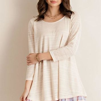 Natural Plaid Ruffle Hem Tunic