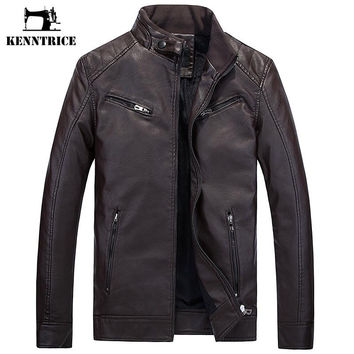 Motorcycle Vintage Leather Jacket Men Warm Faux Leather Coats PU Jacket For Men Winter
