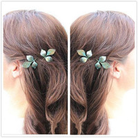 Minimalist Delicate 2Pc Gold Patina Verdigris LEAF Leaves Branch Metal Grecian Hairpin Hair Clips Accessories Bobby Pin Woodland Garden Wedding Fairy Bridesmaids Brides Jewelry = 1929803972