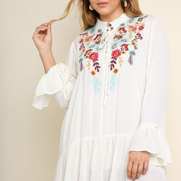 Plus Size Floral Embroidered Button Front Dress