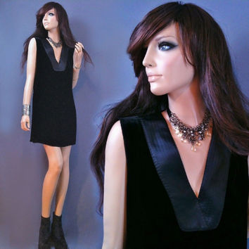 ESCADA black dress | new years eve dress | vintage black dress | tuxedo dress |  90s minimalist | tunic | shift dress | cocktail | small 34