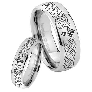 Bride and Groom Celtic Cross Mirror Dome Tungsten Carbide Men's Ring Set