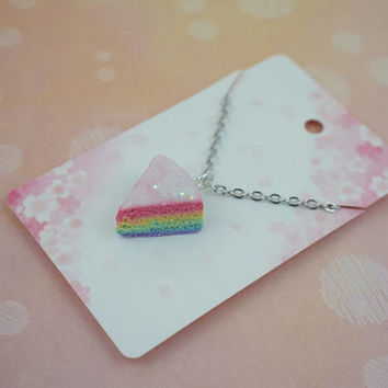 Cute Rainbow Cake Slice Charm Necklace | Polymer Clay | Miniature Sweet Food | Kawaii Handmade Gift