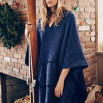 Free People Womens Brookside Hooded Poncho
