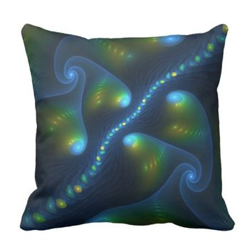 Fantasy Lights Abstract Blue Green Yellow Fractal Throw Pillow