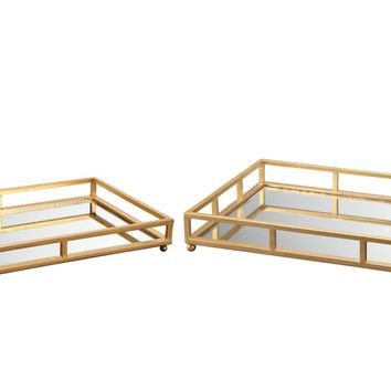 Grid Tray Rectangle Gold / Glass Mirror