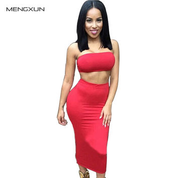 2016 Vestidos Womens Sleeveless Strapless Sexy Two Piece Set Bandage Bodycon Dress Women White Club Summer Dress MQ817
