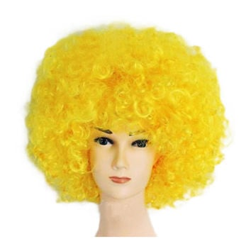 Fashion Afro Cosplay Curly Clown Party 70s Disco Cosplay Wig Cheering Squad Clown   Yellow