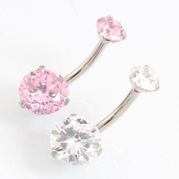 ac DCCKO2Q Fashion Navel piercing Double round Zircon pretty cute simple belly button ring Nickel-free Christmas gift