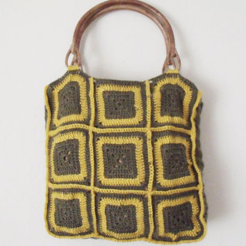 Square Crochet Handbag-Olive Green And Yellow-Ready For Shipping