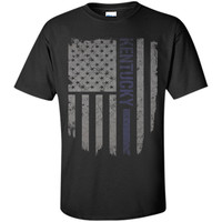 Kentucky Thin Blue Line American Flag T-Shirt T-Shirt