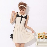 Vintage Peaked Lapel Sleeveless Short Slim Dress White-Wholesale Women Fashion From Icanfashion.com
