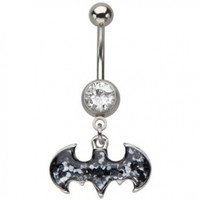 Batman Belly Button Ring Black Glitter Surgical Steel Dangle Press Fit