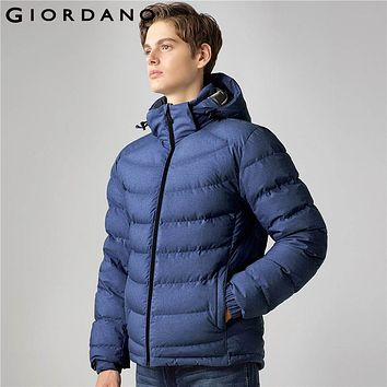 Giordano Men Down Jacket Stand Collar Detachable Hood Jacket Long Sleeves Solid Casual Winter 90% Down Filled Coat Brand