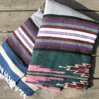 Vintage Mexican Striped Ethnic Blanket Rug