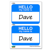 Dave Hello My Name Is - Sheet of 2 Stickers