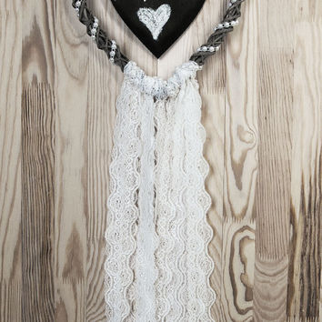 Mr&Mrs Wedding Decor Brown Heart White Lace Dreamcatcher Shabby Chic Modern rustic decor wall hanging wall decor shabby home decor