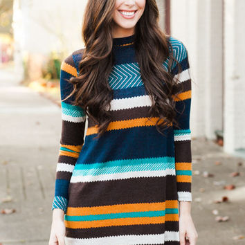 Nothing Like You Multi Color Chevron Dress