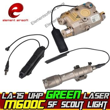 Element Airsoft surefir M600C Weapon Scout light IR PEQ 15 Green Laser Double Control Switch Tactical Flashlight Arms Gun Lamp
