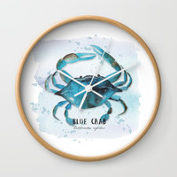 blue crab Wall Clock by Sylvia Cook Photography