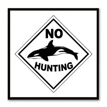 No Hunting Sign Art White Print on Canvas Picture Frames Wall Home Décor Mancave