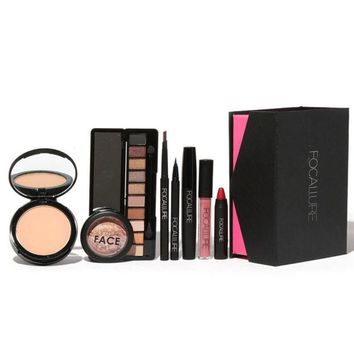 ONETOW 8Pcs Makeup Suit For FOCALLURE Essential For Beginners brow pens+eyeshadow+powder+lip+eyeliner+mascara+blush+lip gloss Top Sale